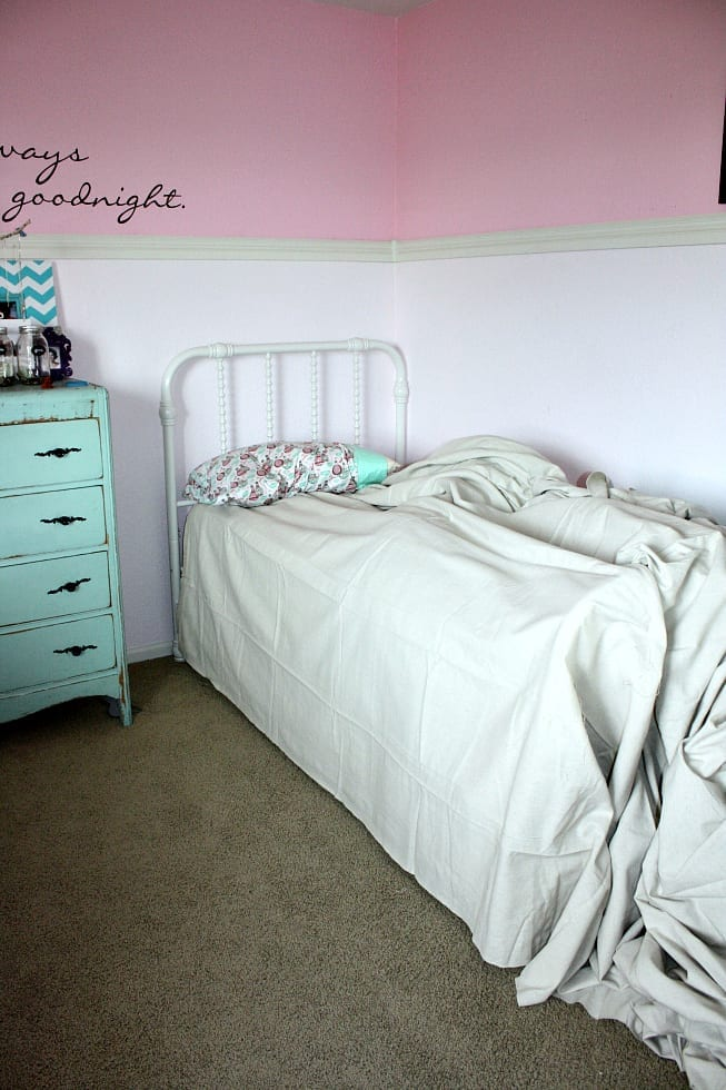 Easy No Sew Drop Cloth Bed Skirt » The Tattered Pew