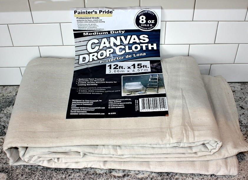 1 drop cloth 12 ft x 15 ft at 31 i used the largest one i could find since i made two bed skirts and found it at lowes