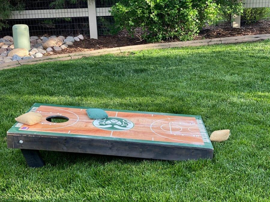 A custom Colorado State basketball corn hole set up.