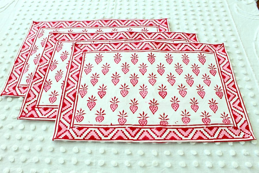 Handmade red, white and pink fair trade placemats are perfect for any pretty tablescape!