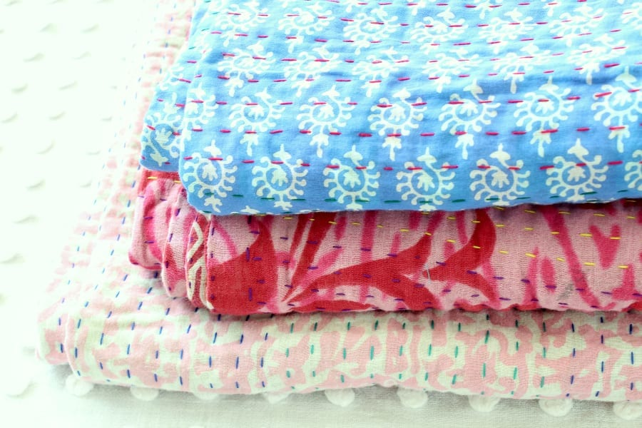 Handmade quilts are great to decorate with...especially these fair trade colorful ones!