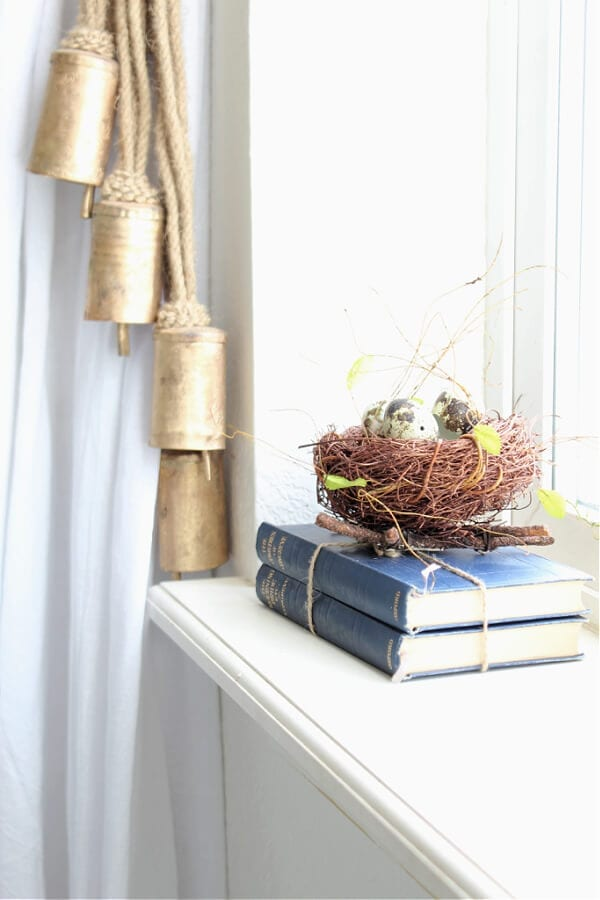 a nest, eggs and a stack of books...a lovely Spring vignette.