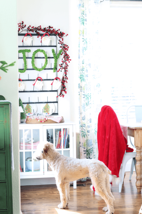 Our sweet pup loves our holiday hot cocoa bar too!