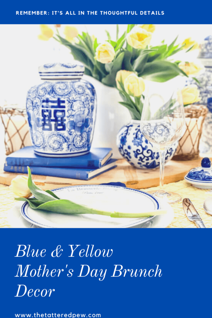 Make your Mother's day brunch decor special with this classic blue and yellow color combo.