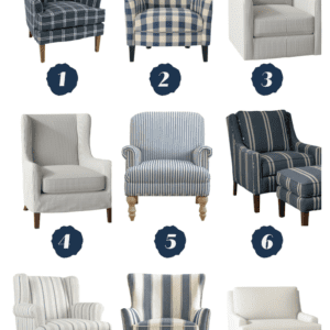 Check out these 9 blue and white accent chairs all from Wayfair!