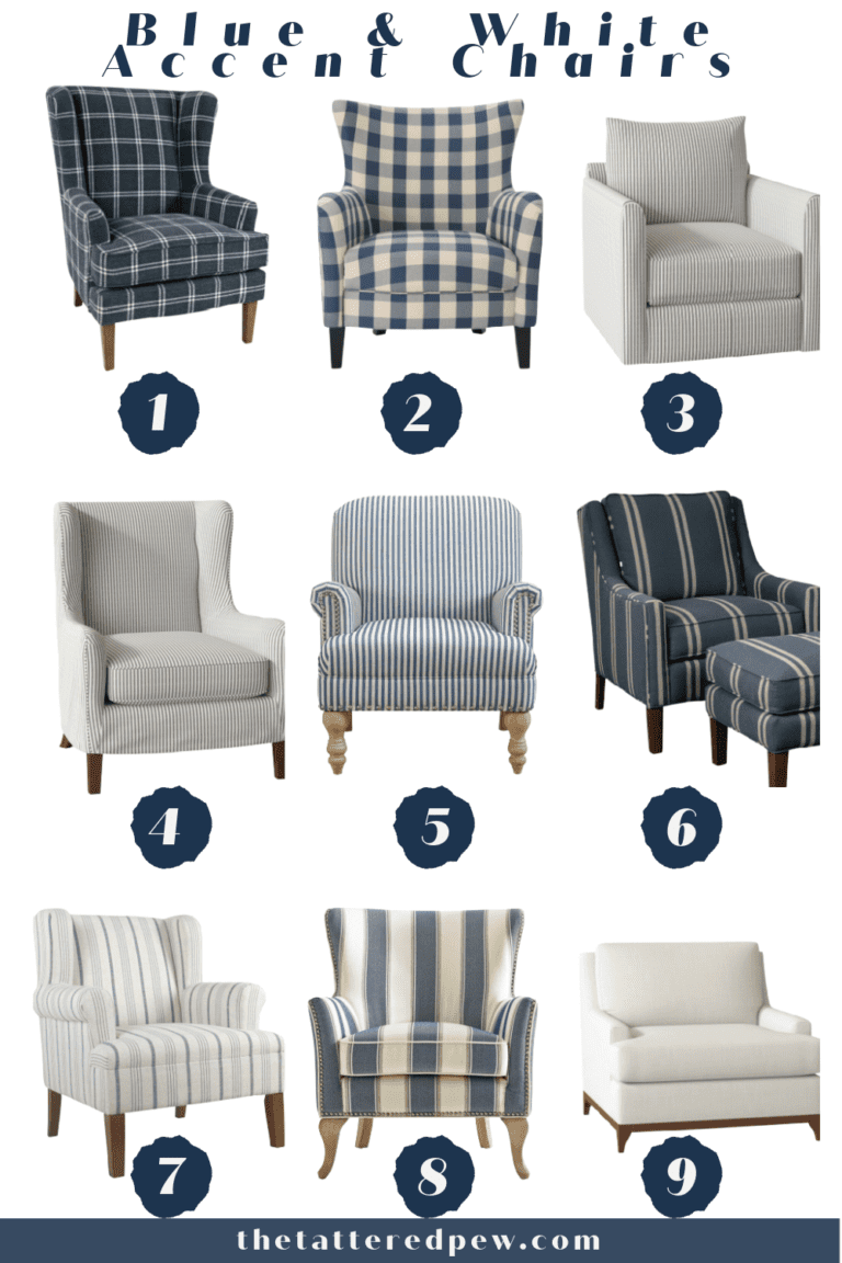 Blue and White Accent Chairs