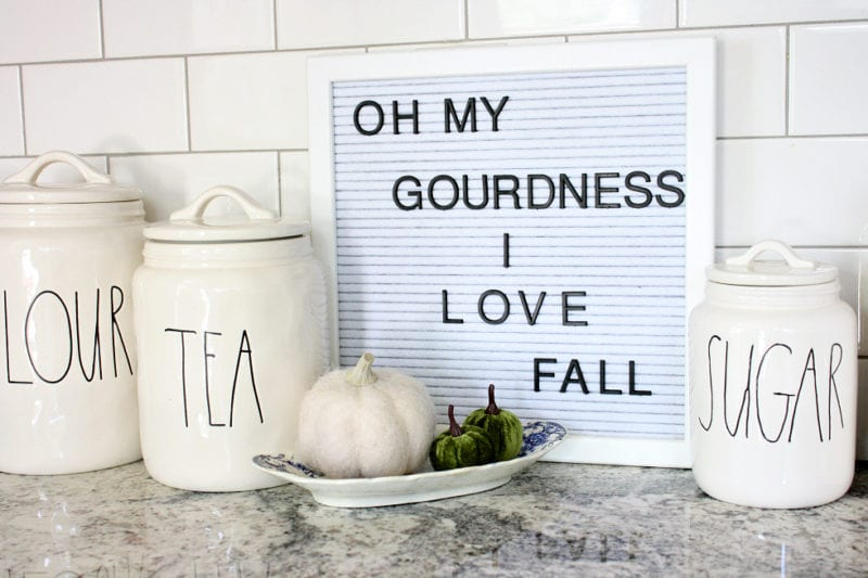 Oh my gourdness I love fall letter board quote.
