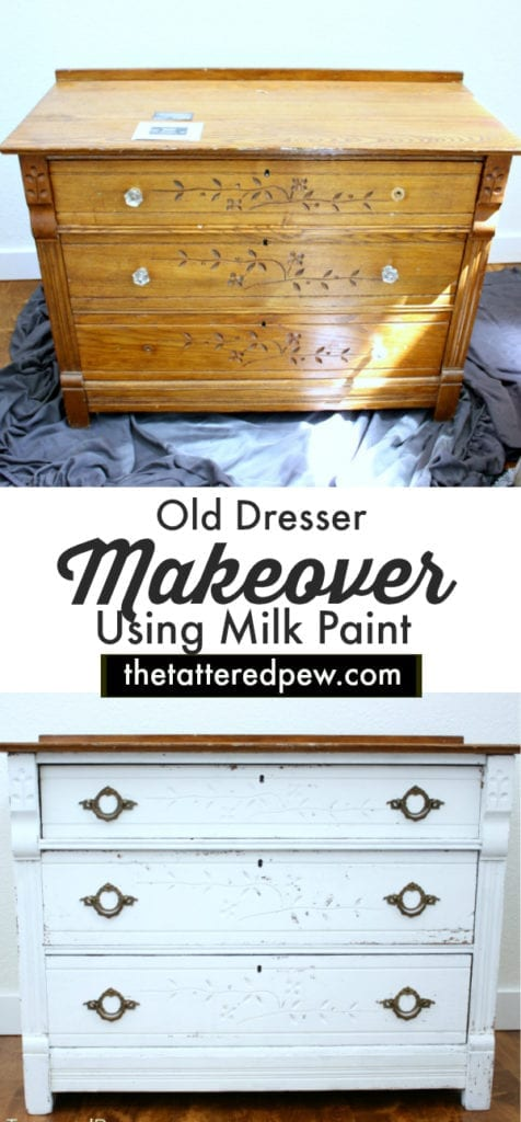 Come see how I transformed this $40 old dresser using milk paint and new hardware!
