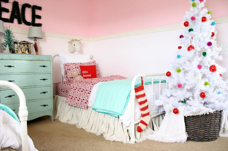 This girls colorful Christmas bedroom is so fun! The Tattered Pew