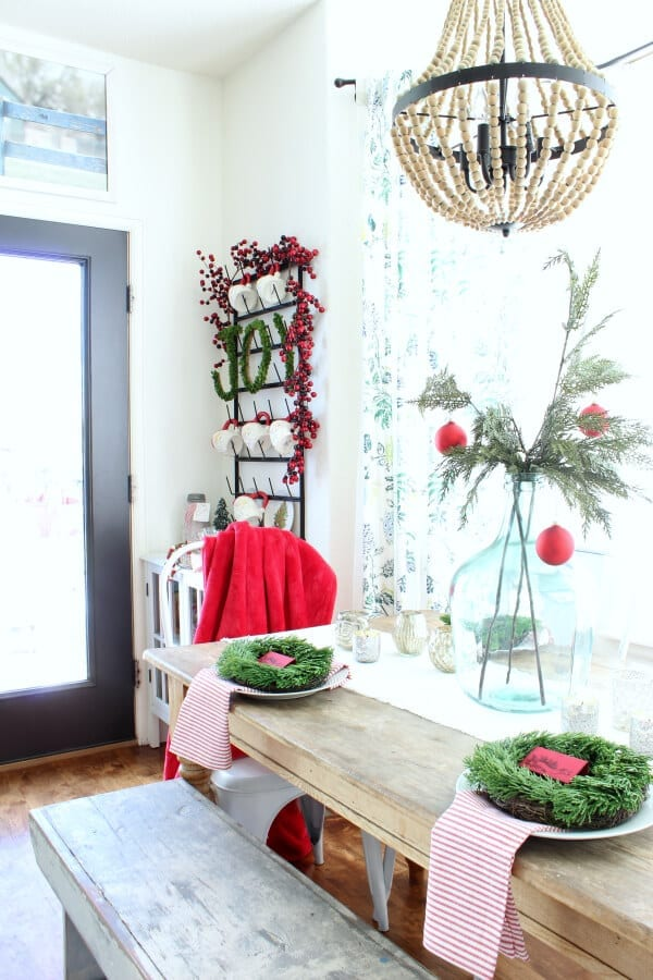 I love our little kitchen nook and mug rack all decked out for Christmas!