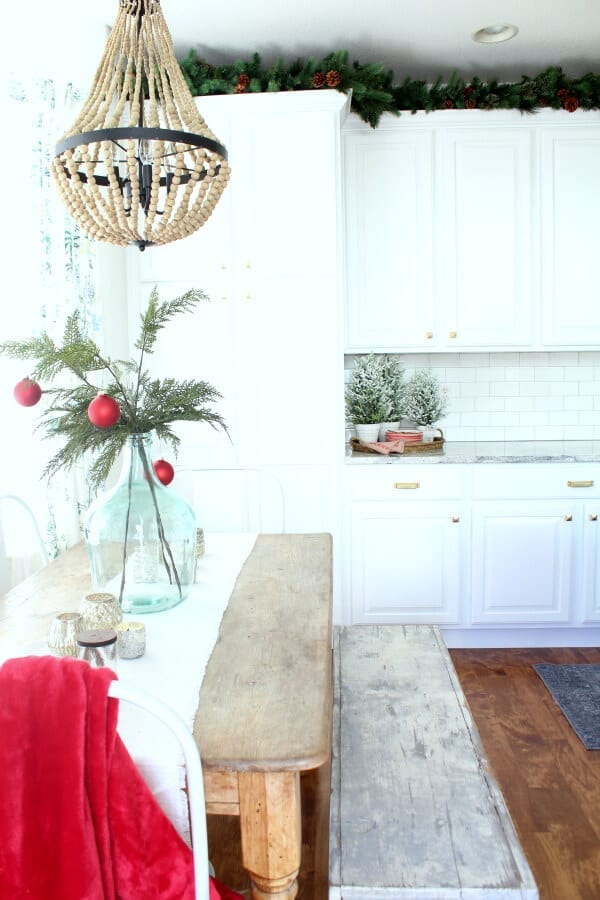 Our kitchen garland contrasts perfectly against our newly painted cabinets!