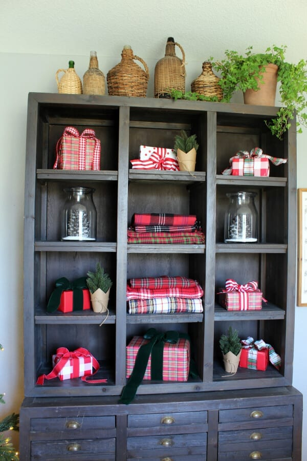 Plaid presents in our printers cabinet make for lovely holiday decor.