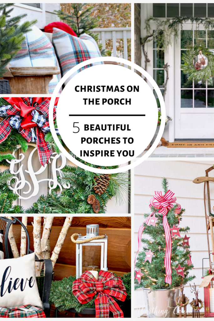 5 home decor bloggers share tips and tricks for decorating your porch for Christmas.