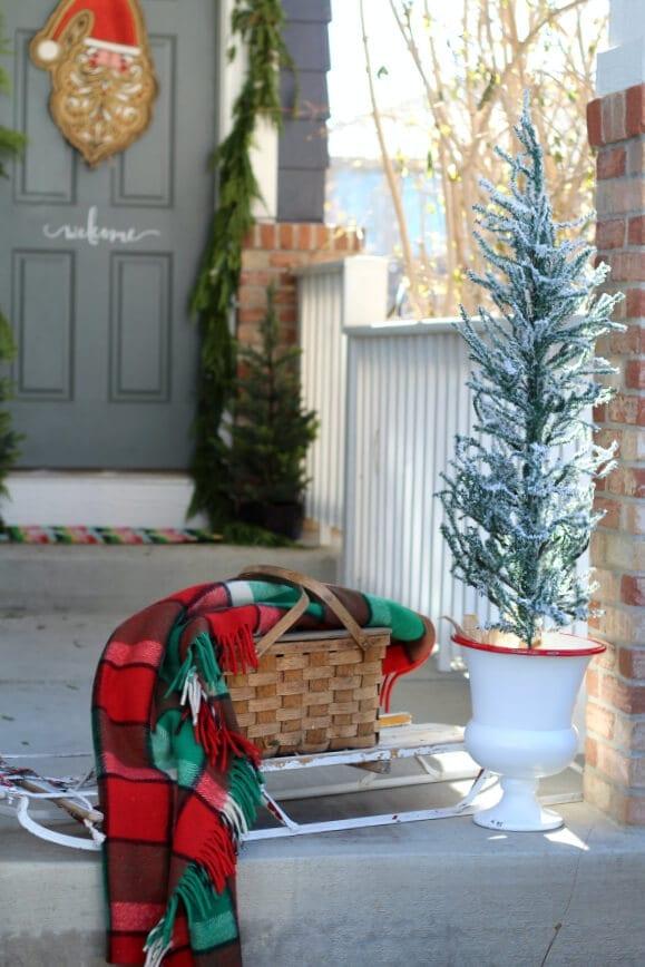 A fun vintage Christmas vignette on the porch!