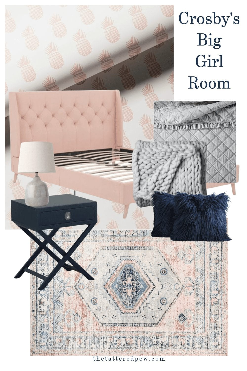 Light pink, navy and grey bedroom design plans for Crosby's room.