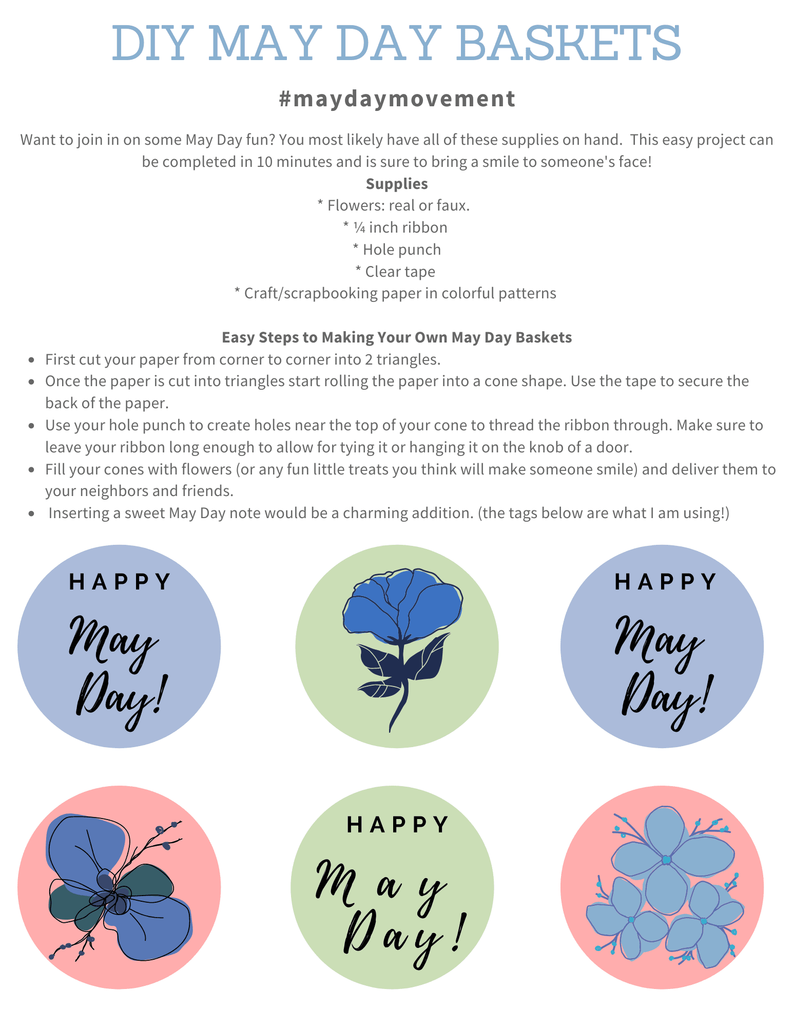 Join the May Day Movement and grab your free printable tags to make someone smile!
