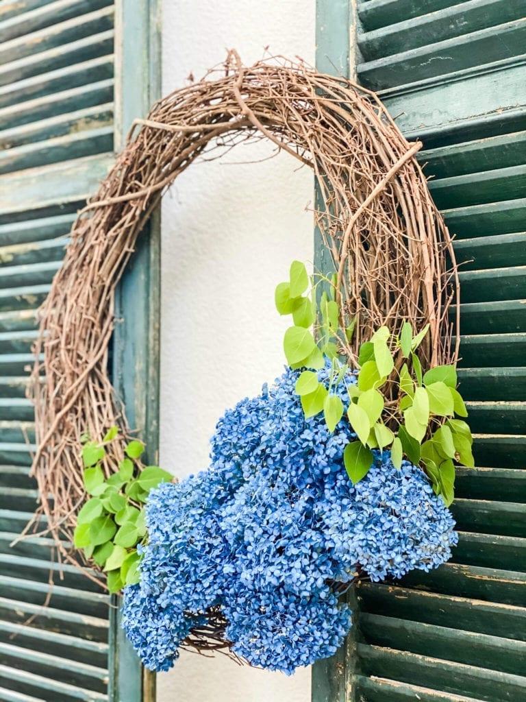 DIY Blue Hydrangea Wreath