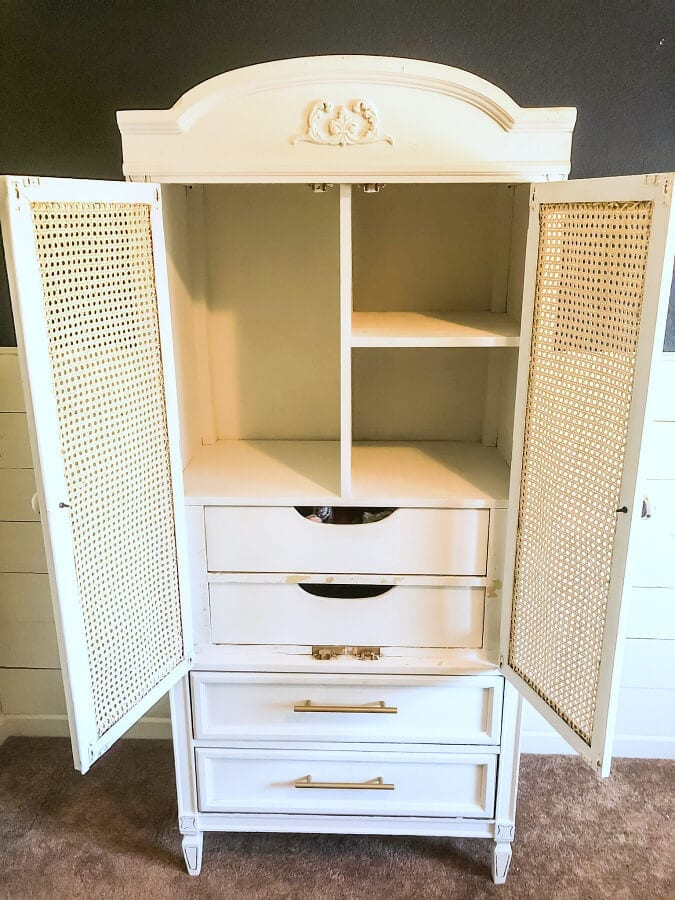 With a little paint and some cane webbing for the doors this armoire was ready to be the star of the bedroom!