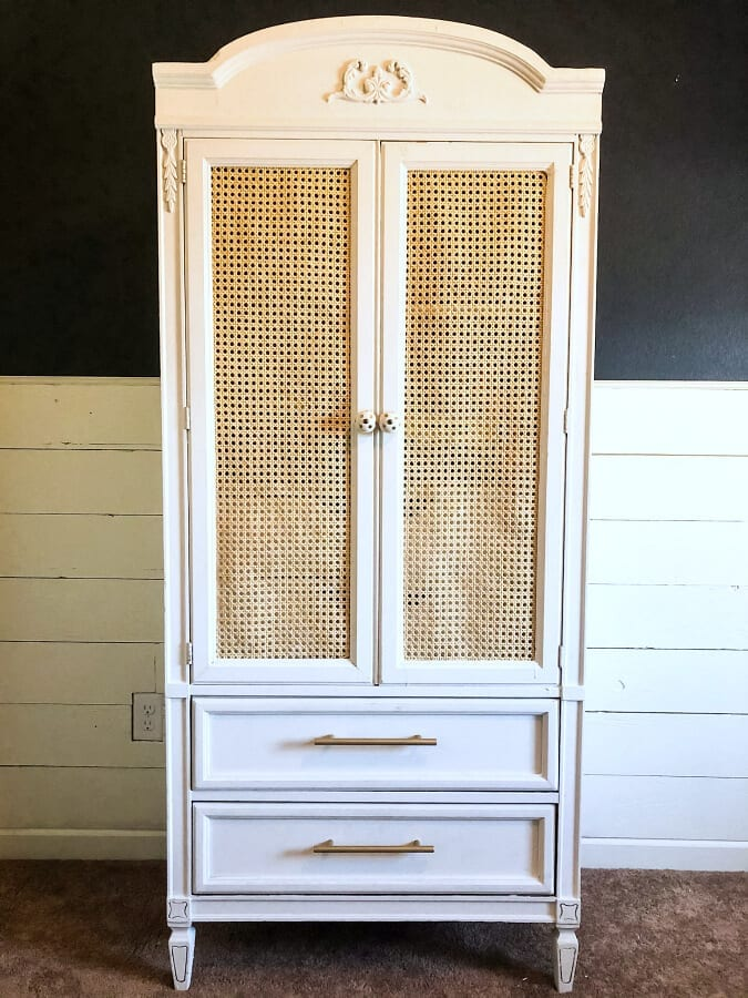 This armoire started out as a $40 FB Marketplace find...with a little tlc we transformed it into a darling DIY cane armoire makeover perfect for a little girls room.