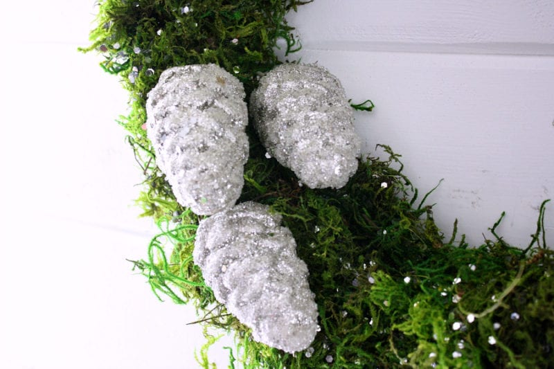 Add glitter or glittery pinecones to add that special touch to your Christmas moss wreath!