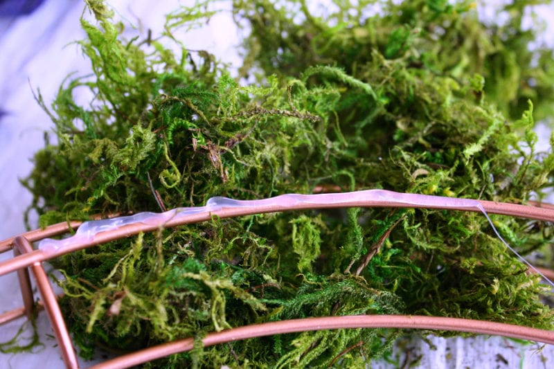 DIY moss and glitter wreath that you can make in 30 minutes or less!