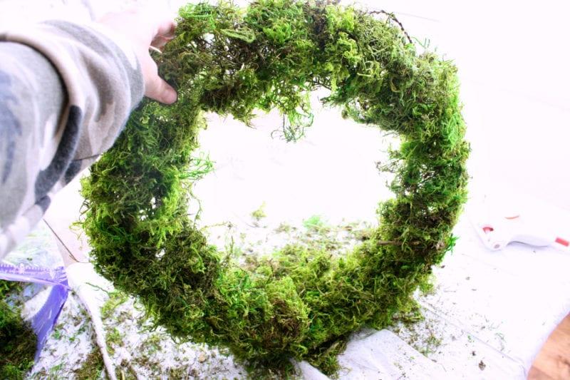 DIY moss and glitter Christmas wreath.