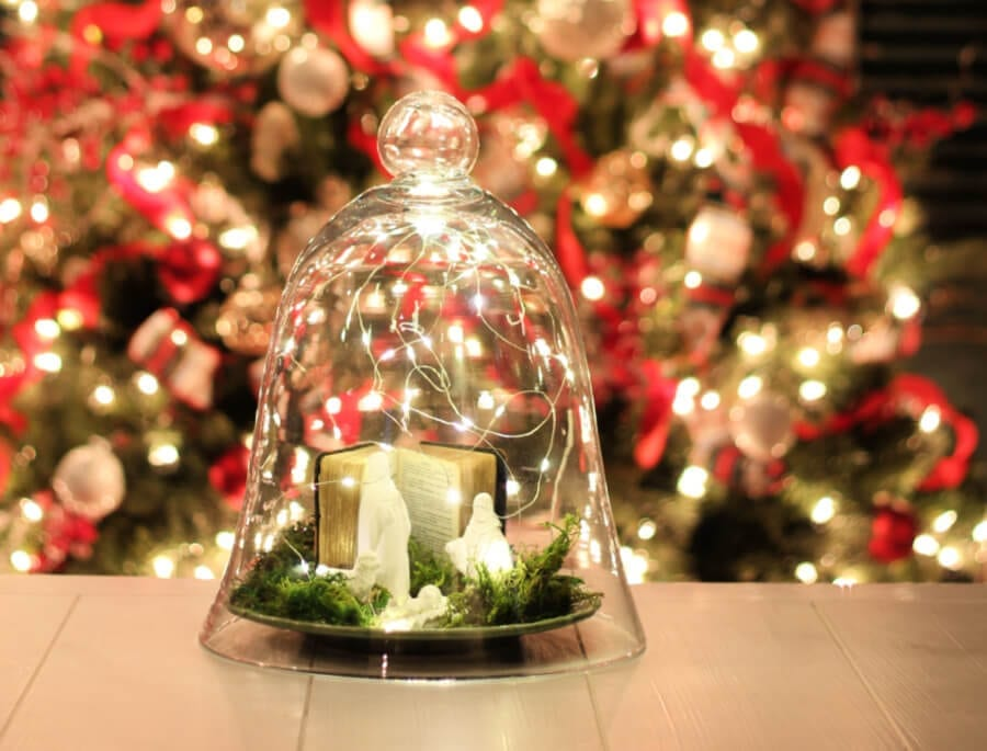 DIY Nativity Centerpiece perfect for Christmas all lit up!