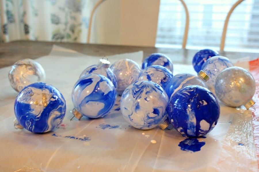 DIY blue ornaments for Christmas.