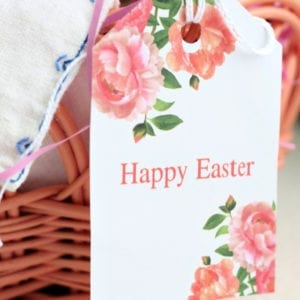 Happy Easter floral gift tag printable.