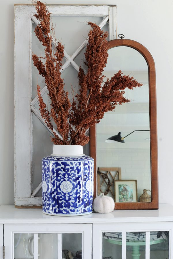 Blue and white chinoserie and touches of Fall in our new home.