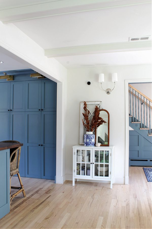 Fall leading into our kitchen...natural branches and blue cabinets.