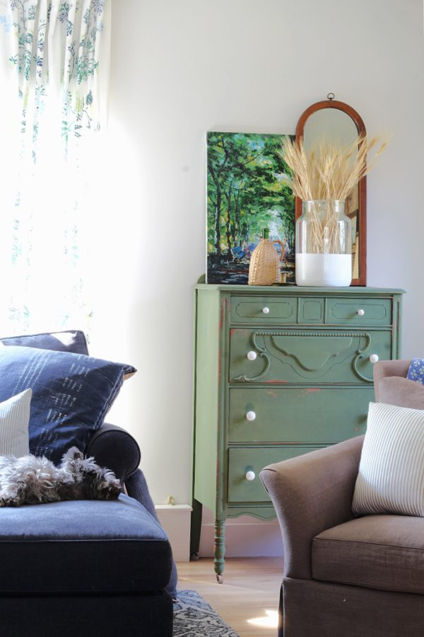 Our boxwood green dresser dressed up for Fall.