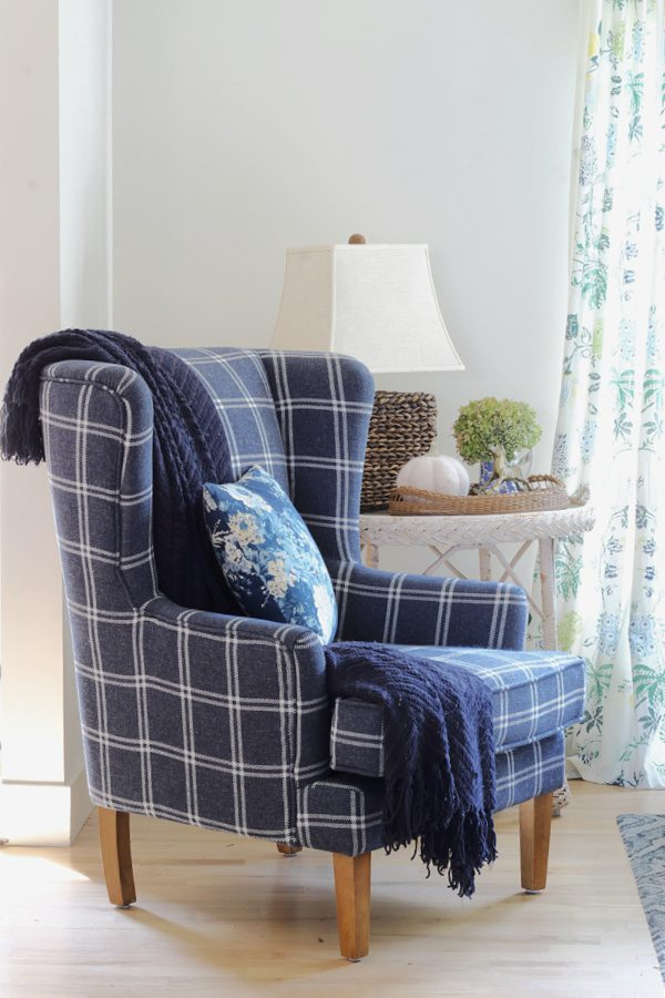 Fall in our new home and we kept the blue and white plaid chair in the family room.