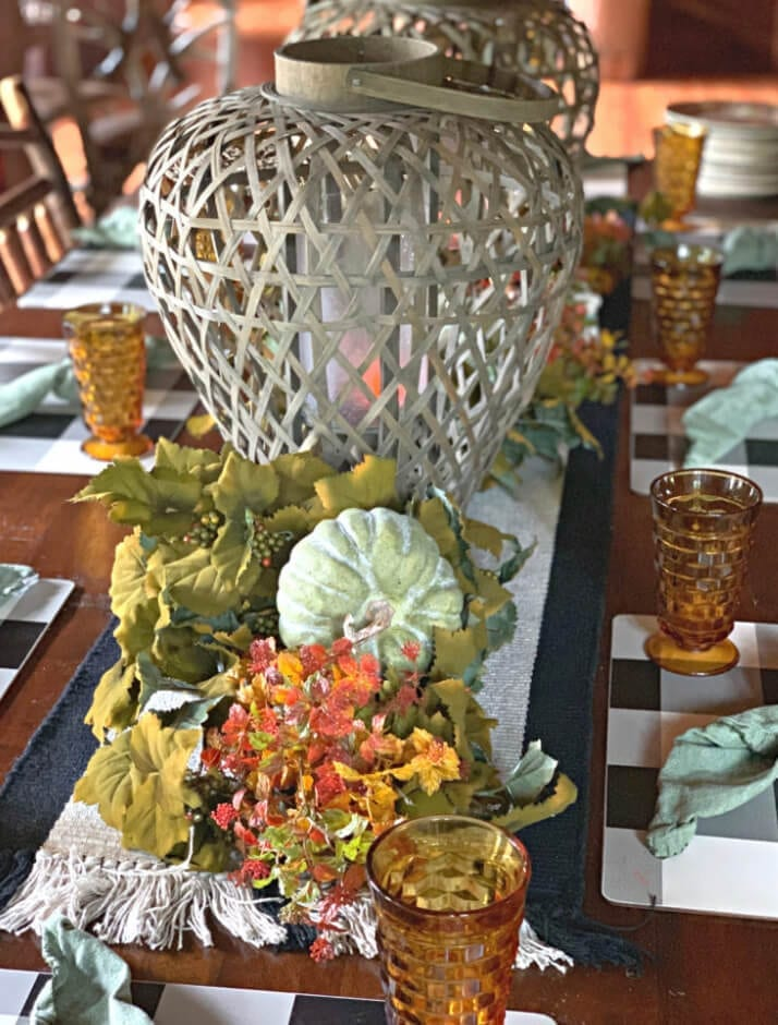 Welcome Home Sunday: A Fall tablescape with Ambers, Browns, and Greens