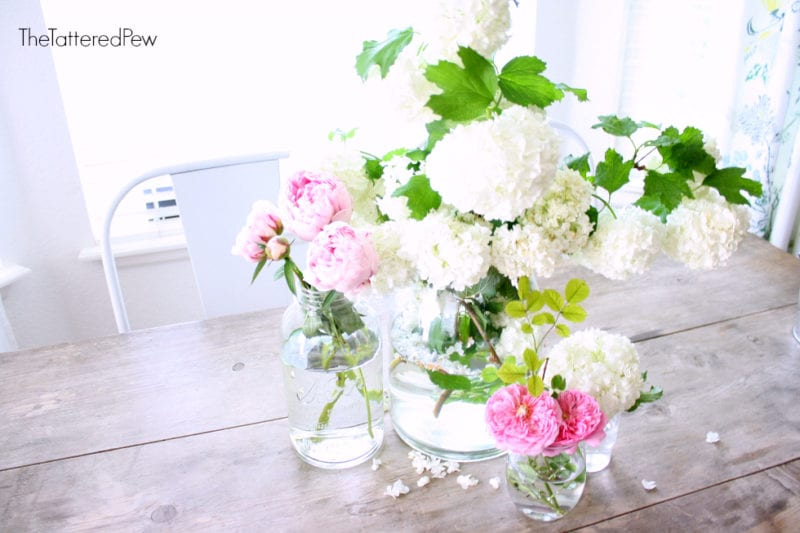 Peonies, Snowballs and DA Roses for the perfect summer centerpiece!