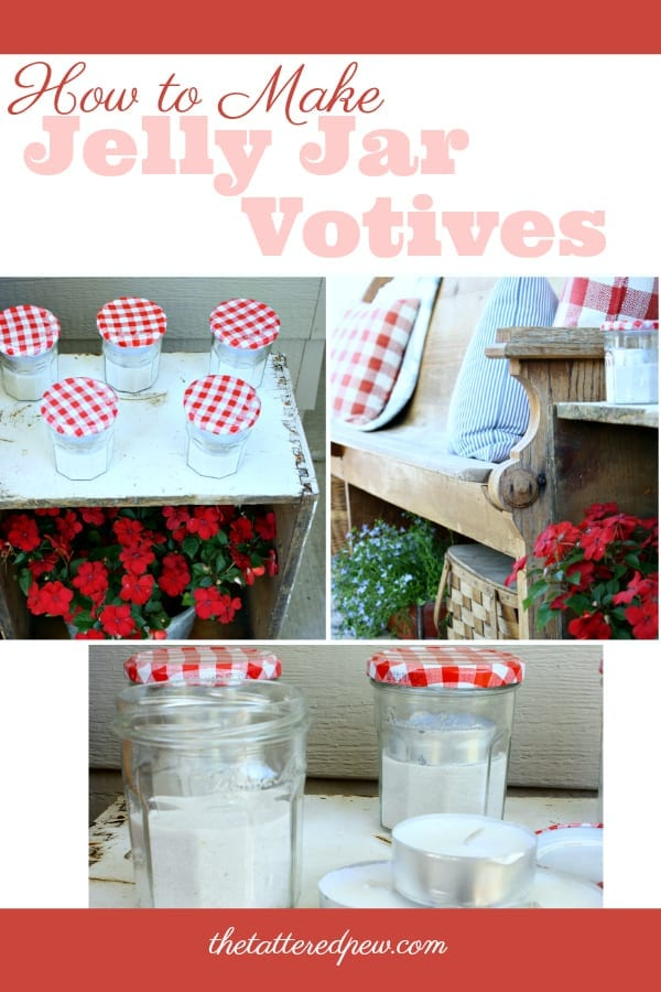 How to make votives from darling old jelly jars! Only using 3 items.