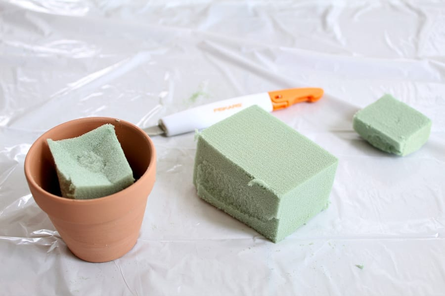 Floral foam for the mini teacup topiary.