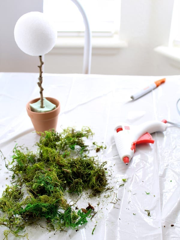 Mini moss topiaries with Dollar Store items.