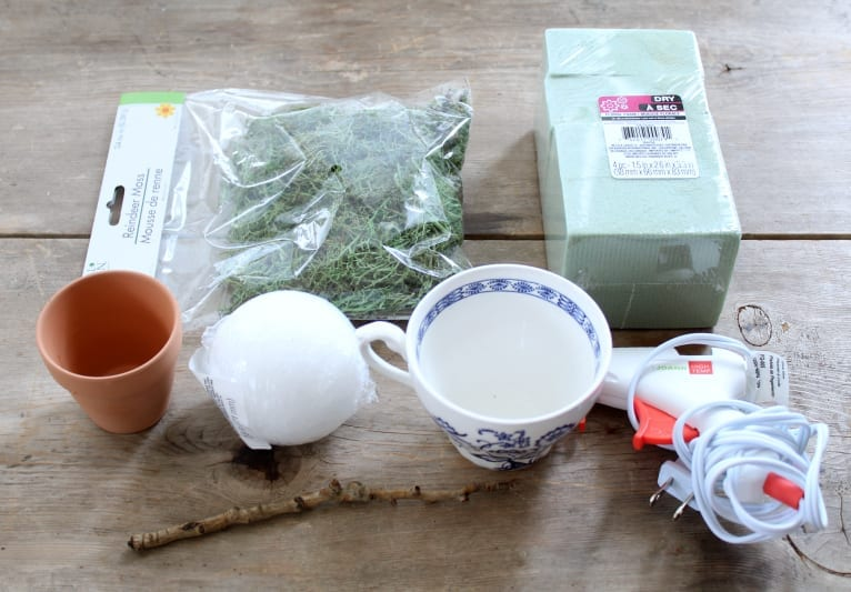 All the supplies for a mini teacup topiary!