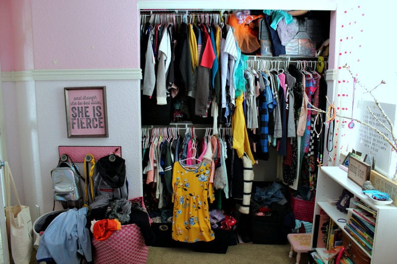 A before view of kids shared closet