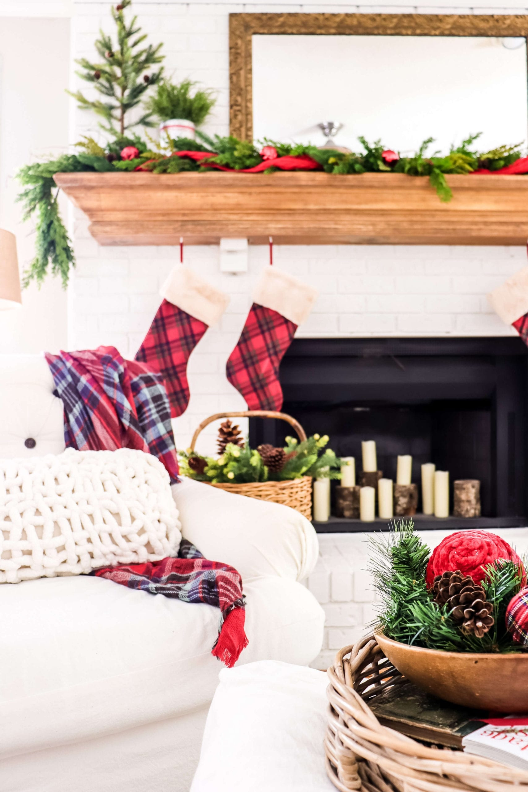 Welcome Home Sunday: Pops of Red Christmas Mantel