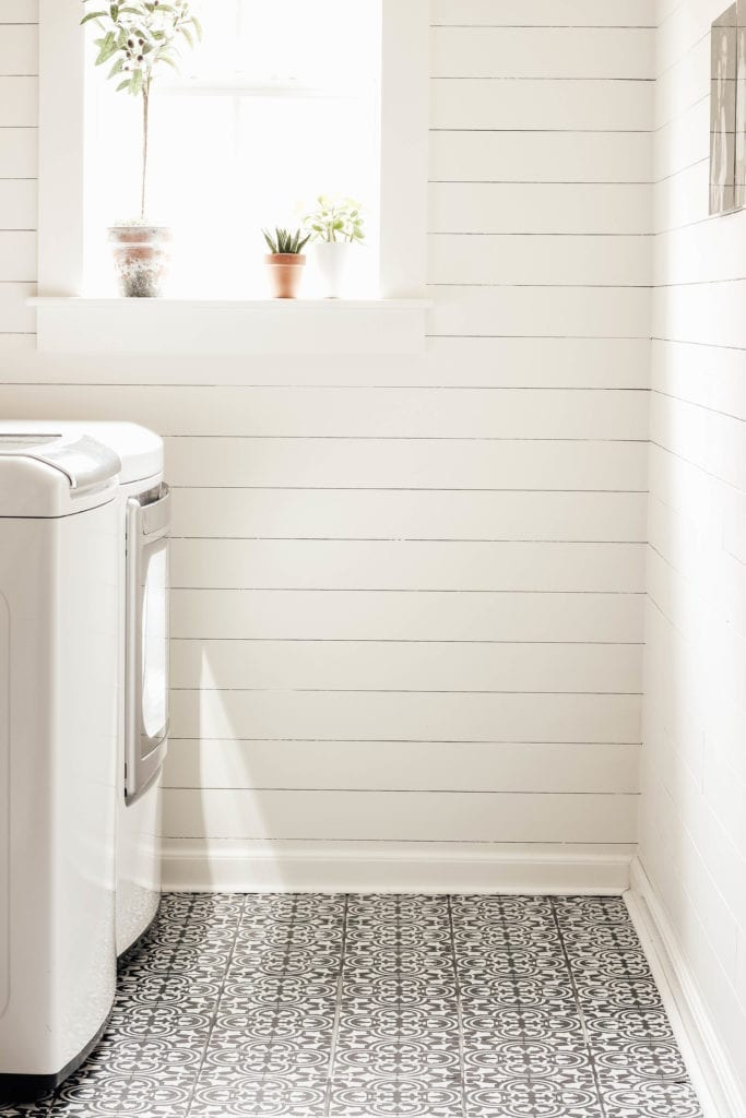 DIY stencil painted tile floors.