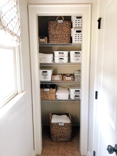 Welcome Home Saturday: Bathroom Closet Organization