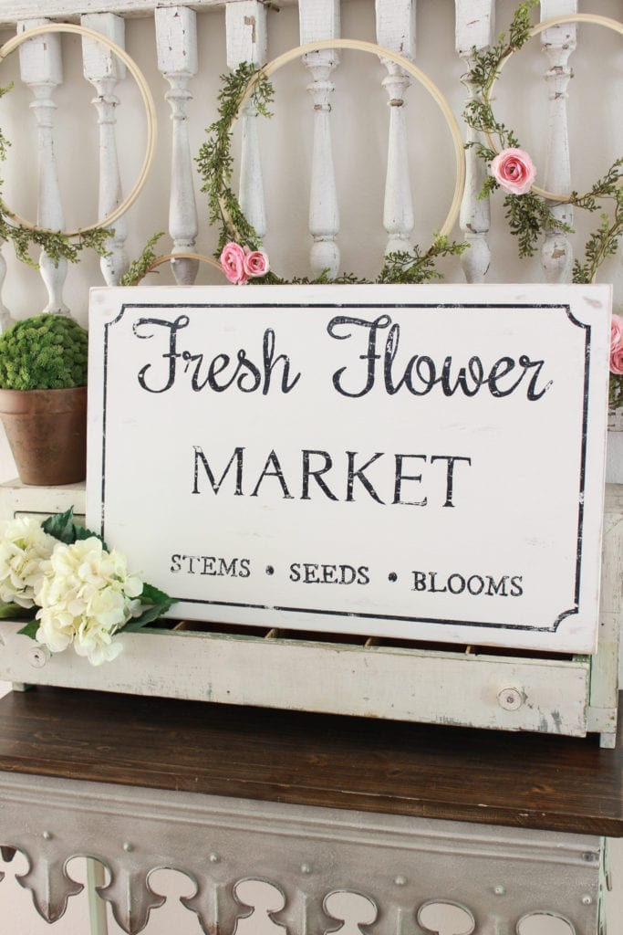 Welcome Home Sunday: Fresh flower market sign and free printable tutorial