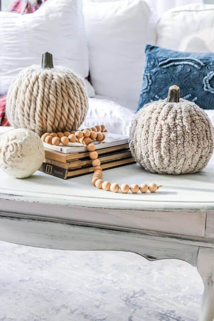Welcome Home Sunday: Chunky Knit Yarn Covered Pumpkins