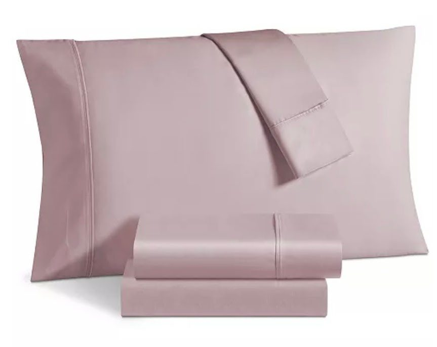 Blush colored sateen sheets from Macy's Big Home Sale
