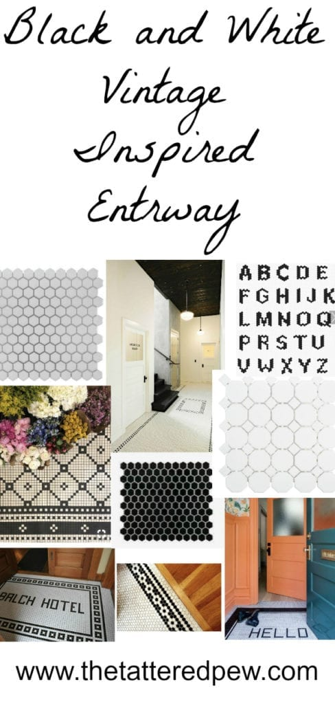 Black and white vintage inspired entryway.