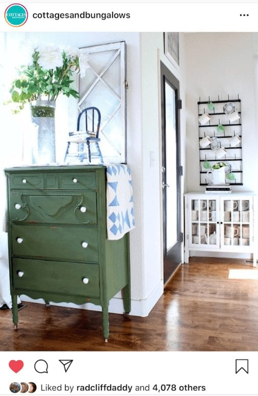 Cottages and Bungalows Instagram feature-green dresser