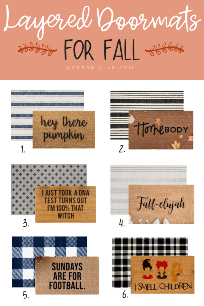 Welcome Home Sunday with Modern Glam: Layered doormat ideas for Fall.