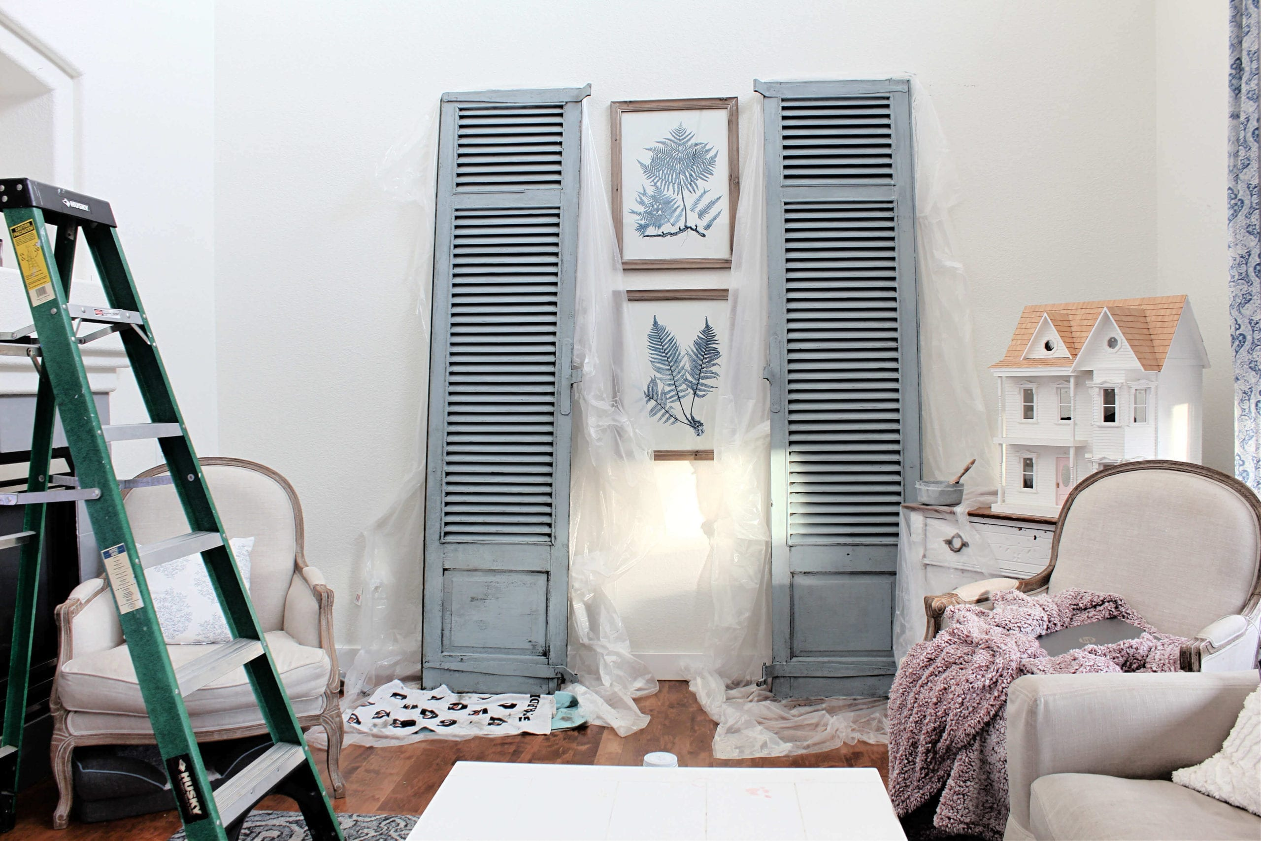 A quick paint project: Shutters Painted In Bergere By Miss Mustard Seed's Milk Paint